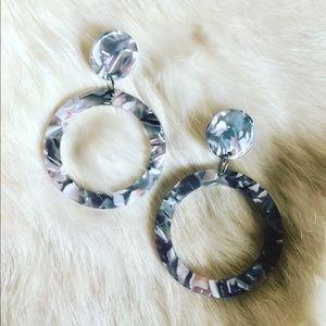 Vintage Style Acetate Grey Tortoise Shell Earrings